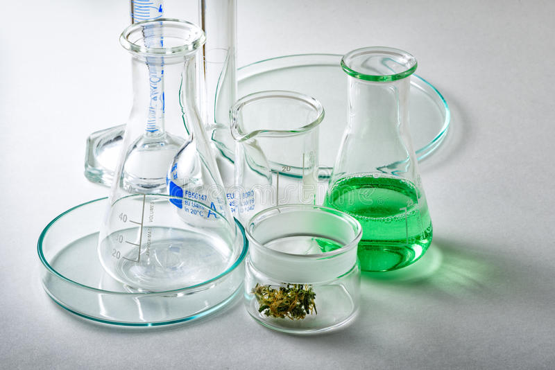 Εργαστηριακά γυαλικά με τον οφθαλμό μαριχουάνα στο μικρό εμπορευματοκιβώτιο γυαλιού στοκ φωτογραφία με δικαίωμα ελεύθερης χρήσης