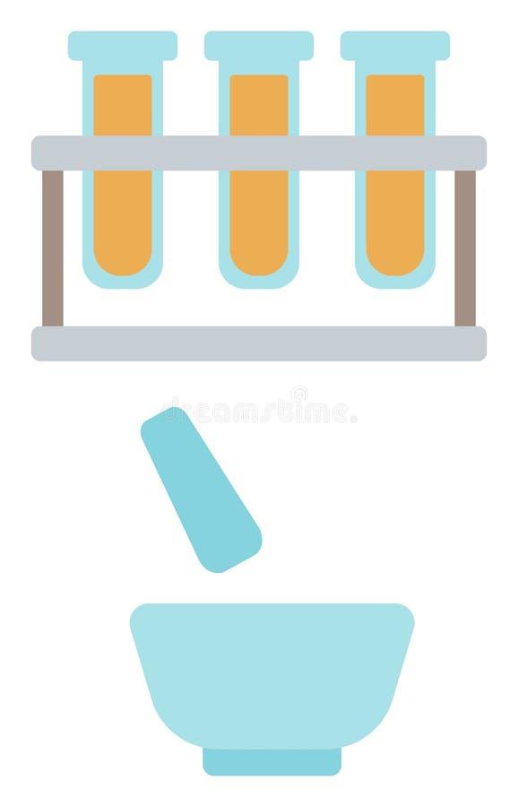 Εργαστηριακά γυαλικά με το κονίαμα και το γουδοχέρι απεικόνιση αποθεμάτων