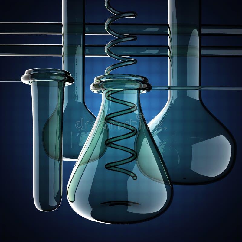 Εργαστηριακά γυαλικά στο μπλε υπόβαθρο απεικόνιση αποθεμάτων