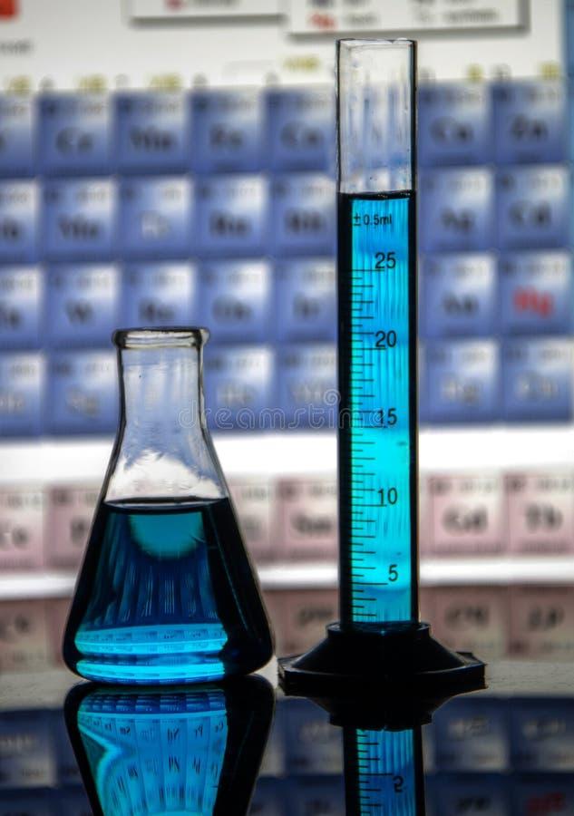 Εργαστηριακές κούπες χημείας περιέχουσες ρόδινες, μπλε και πράσινες λύσεις σε μια απεικονίζοντας επιφάνεια στοκ εικόνες με δικαίωμα ελεύθερης χρήσης