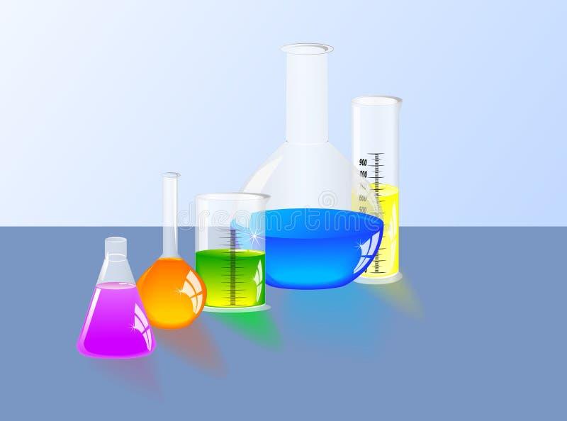 Εργαστηριακή φιάλη και κλιμακωτός κύλινδρος διανυσματική απεικόνιση