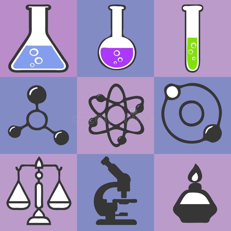 Εργαστηριακοί εξοπλισμός, βάζα, κούπες, μικροσκόπιο και κλίμακες Εκπαίδευση επιστήμης της βιολογίας ιατρική r διανυσματική απεικόνιση