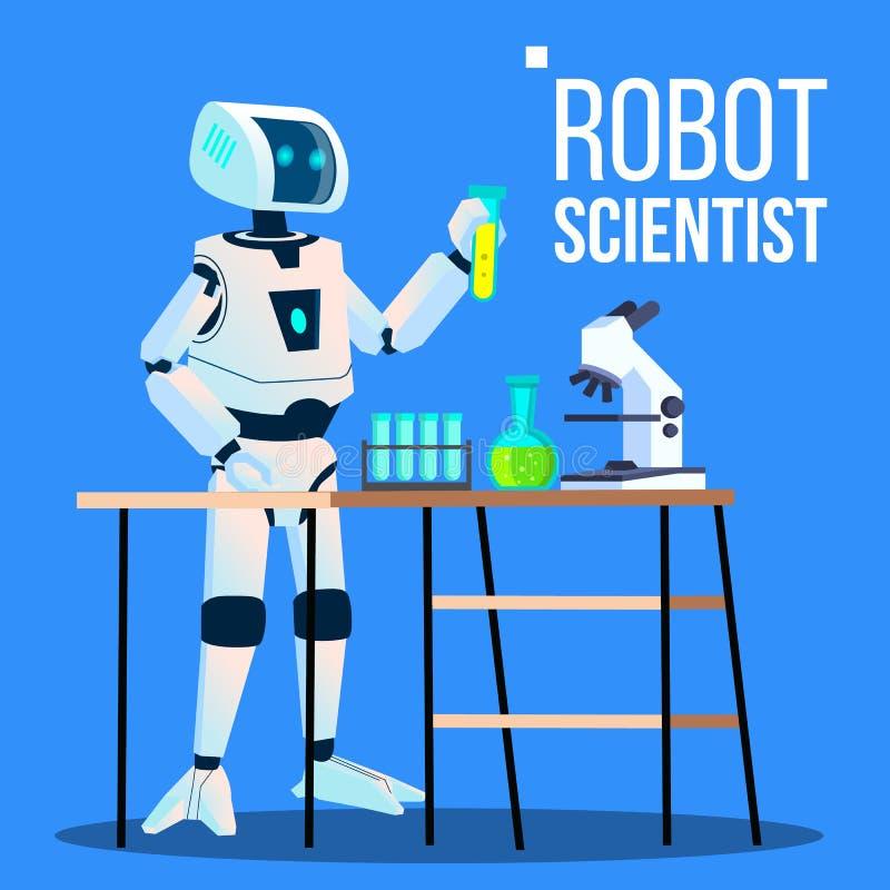 Εργαστηριακός φαρμακοποιός επιστημόνων ρομπότ που στέκεται με το διάνυσμα φιαλών απομονωμένη ωθώντας s κουμπιών γυναίκα έναρξης χ ελεύθερη απεικόνιση δικαιώματος