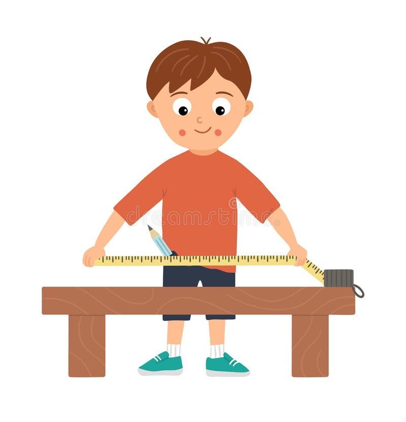 Εργατικό αγόρι διανύσματος Επίπεδος αστείος παιδικός χαρακτήρας που κάνει μετρήσεις με μαγνητοταινία στον πάγκο εργασίας απεικόνιση αποθεμάτων