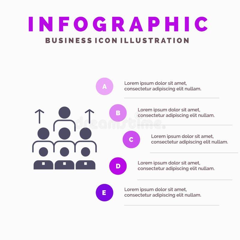 Εργατικό δυναμικό, επιχείρηση, άνθρωπος, ηγεσία, διαχείριση, οργάνωση, πόροι, στερεό εικονίδιο Infographics 5 ομαδικής εργασίας π απεικόνιση αποθεμάτων