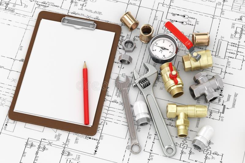 Εργαλεία για τα υδραυλικά επισκευής με το κενό φύλλο στοκ φωτογραφίες με δικαίωμα ελεύθερης χρήσης