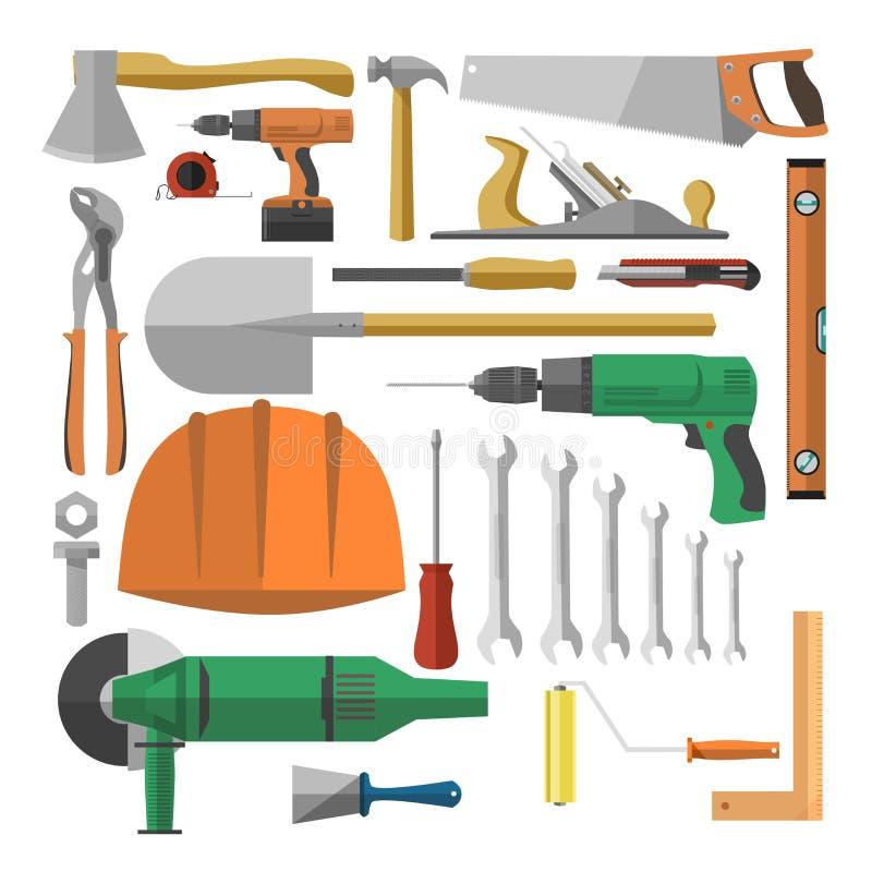 Εργαλεία για τη διανυσματική ζωηρόχρωμη αφίσα στο λευκό ελεύθερη απεικόνιση δικαιώματος