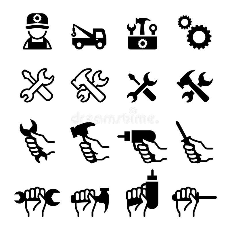 Εργαλεία, επισκευή, αποτύπωση, οργάνωση, συντήρηση, config σύνολο εικονιδίων ελεύθερη απεικόνιση δικαιώματος