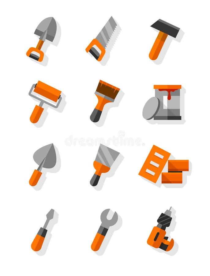 Εργαλεία εργασίας για τα επίπεδα εικονίδια κατασκευής και συντήρησης καθορισμένα απεικόνιση αποθεμάτων