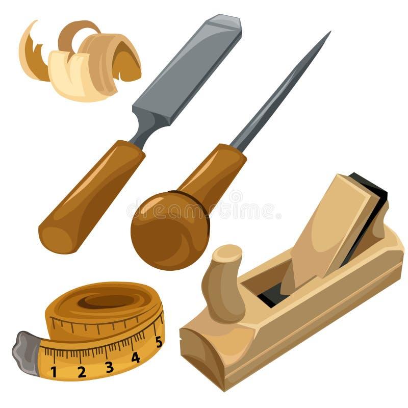 Εργαλεία εργασίας ενός ξυλουργού Σύνολο που απομονώνεται διανυσματικό απεικόνιση αποθεμάτων