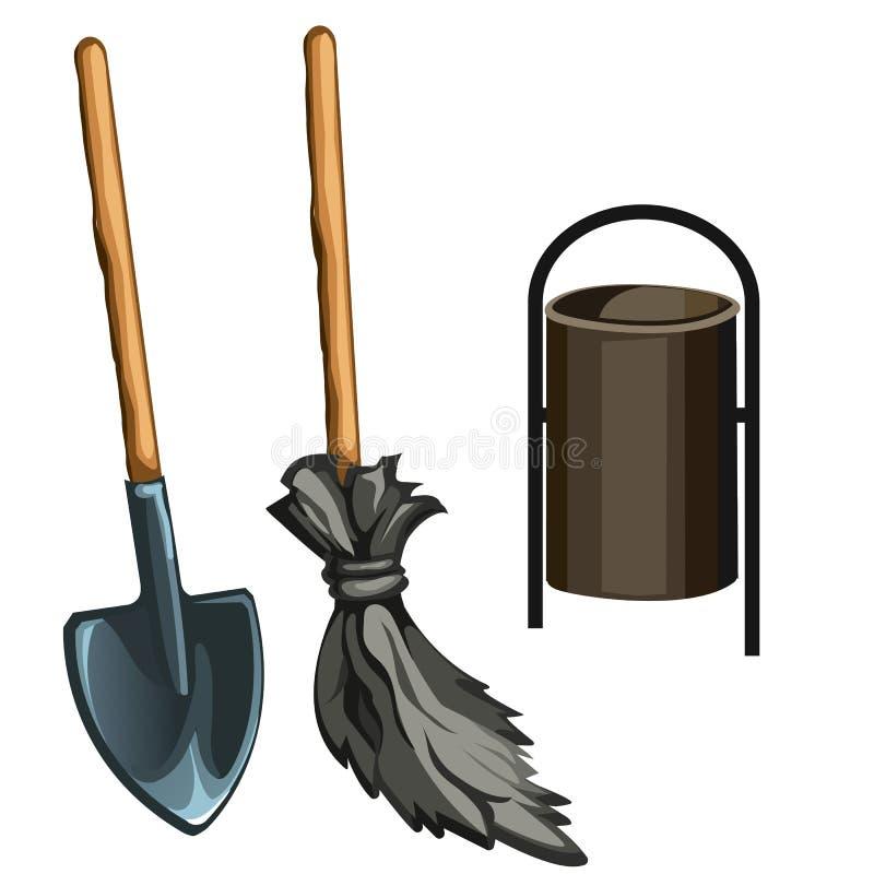 Εργαλεία εργασίας janitor επίσης corel σύρετε το διάνυσμα απεικόνισης διανυσματική απεικόνιση