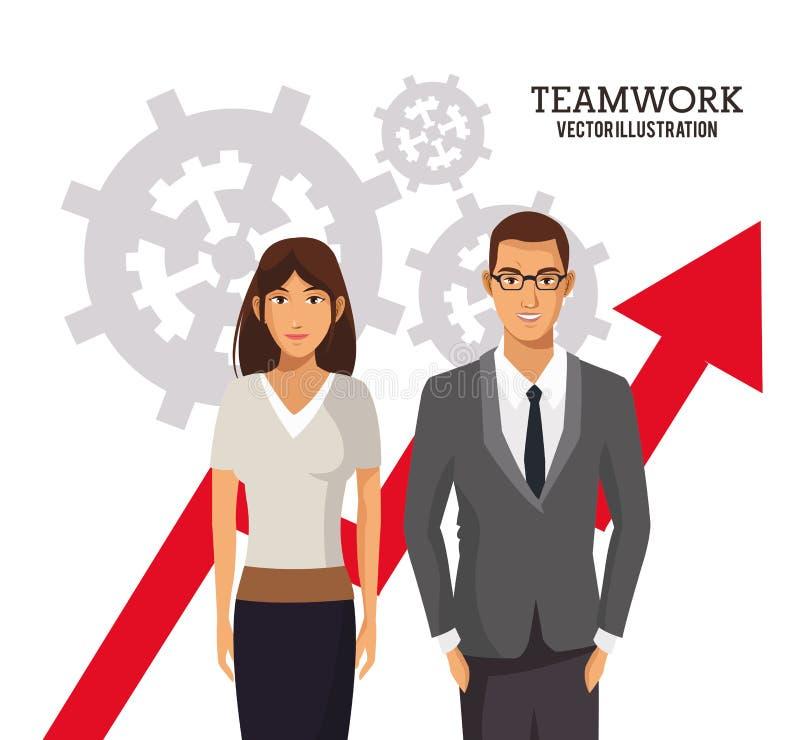 Εργαλεία διαγραμμάτων επιχειρησιακής αύξησης ανθρώπων ομαδικής εργασίας απεικόνιση αποθεμάτων