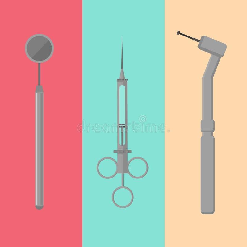 Εργαλεία ιατρικού εξοπλισμού για την οδοντική προσοχή δοντιών διανυσματική απεικόνιση