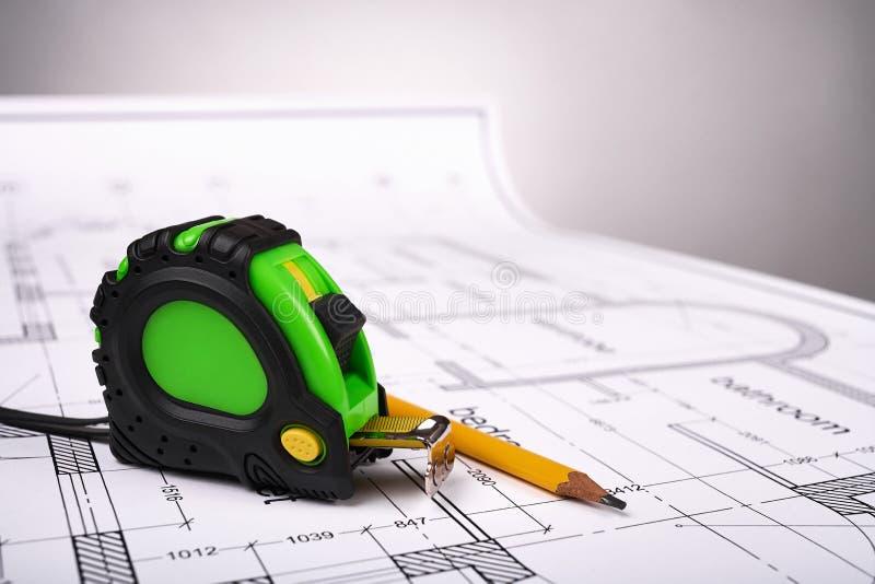 Εργαλεία και κατασκευαστικά σχέδια στοκ φωτογραφίες με δικαίωμα ελεύθερης χρήσης