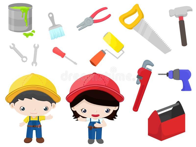 Εργαλεία κατασκευής - παιδιά καθορισμένα απεικόνιση αποθεμάτων