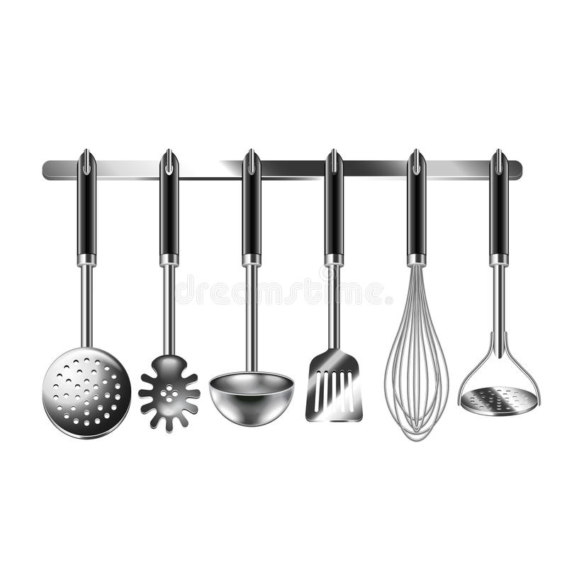 Εργαλεία κουζινών στο άσπρο διάνυσμα απεικόνιση αποθεμάτων