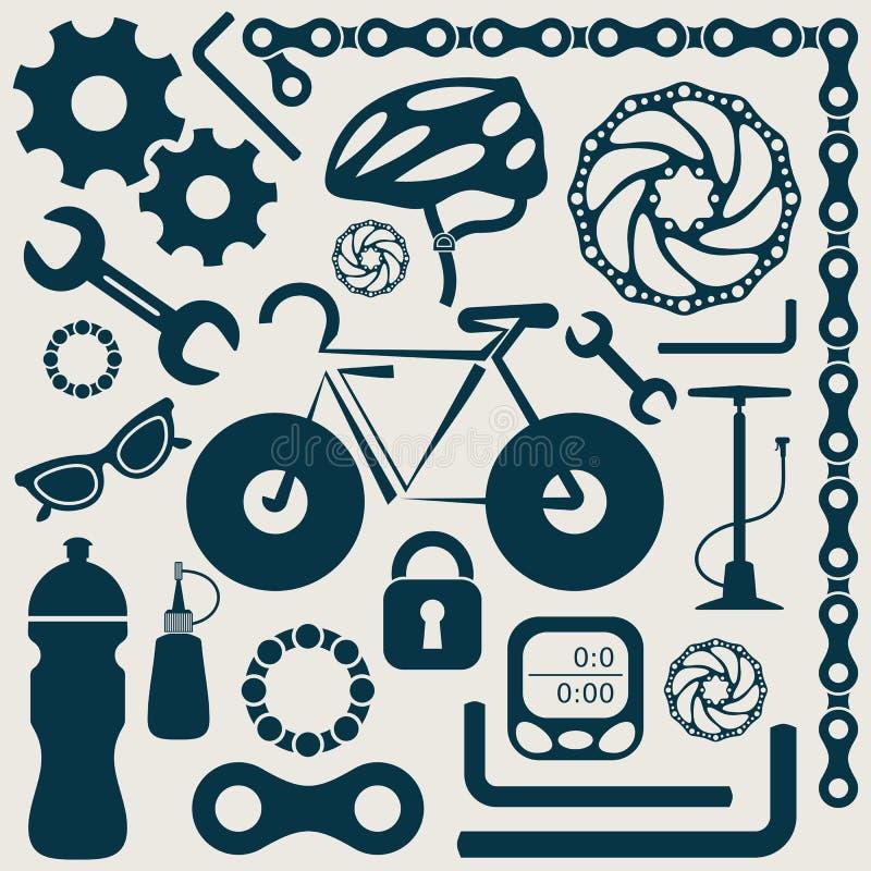 Εργαλεία ποδηλάτων διανυσματική απεικόνιση