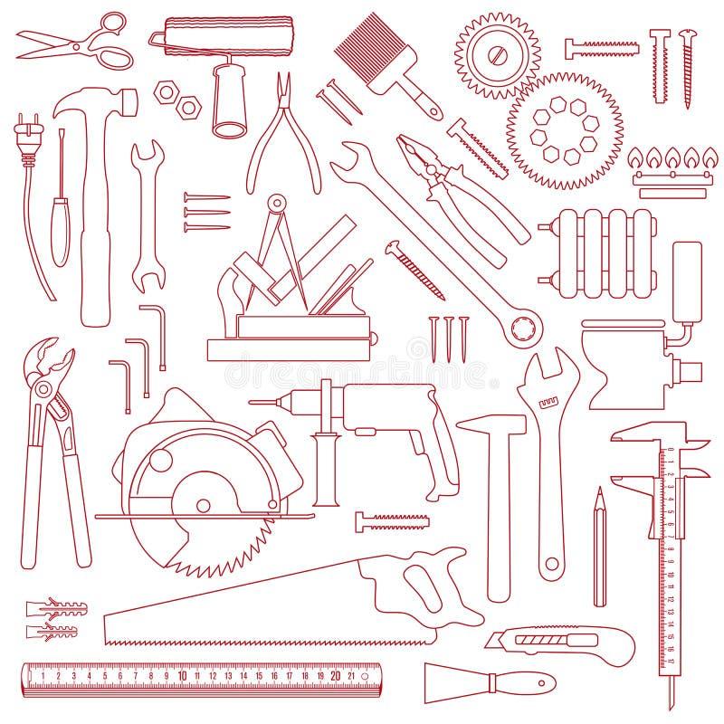 Εργαλεία χεριών και εξοπλισμός κατασκευής διανυσματική απεικόνιση
