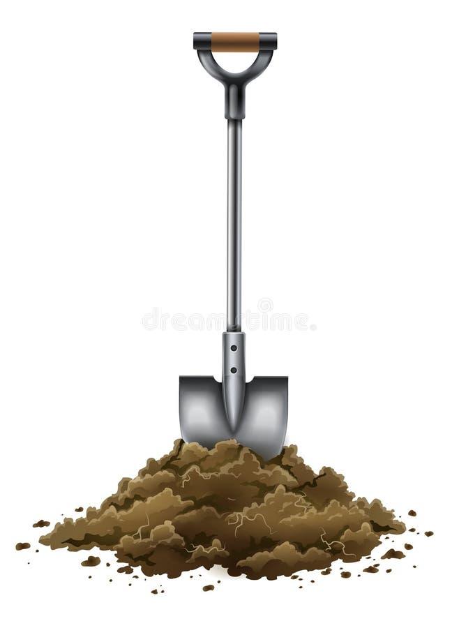 Εργαλείο φτυαριών για την εργασία κηπουρικής στο έδαφος που απομονώνεται στο λευκό απεικόνιση αποθεμάτων
