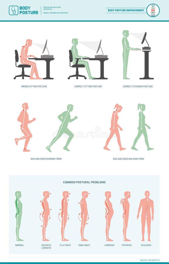 Εργονομία και βελτιώσεις στάσης σώματος διανυσματική απεικόνιση