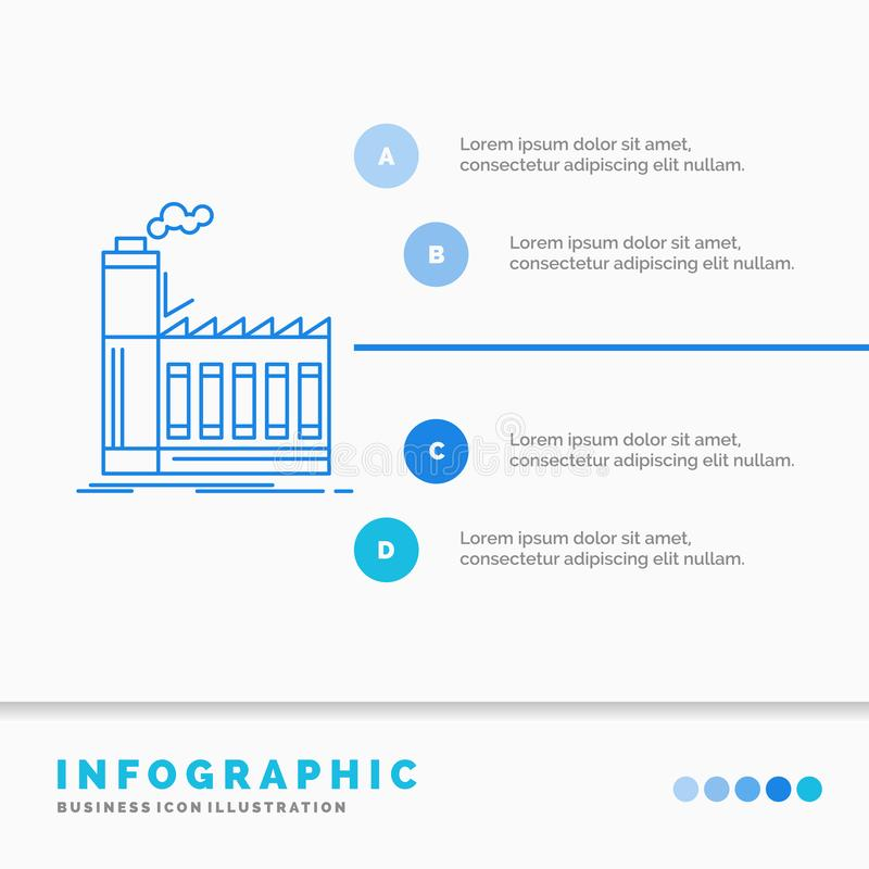 Εργοστάσιο, βιομηχανικός, βιομηχανία, κατασκευή, πρότυπο Infographics παραγωγής για τον ιστοχώρο και παρουσίαση Μπλε εικονίδιο γρ ελεύθερη απεικόνιση δικαιώματος