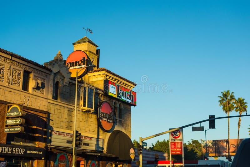 Εργοστάσιο γέλιου στη λουρίδα ηλιοβασιλέματος, Λος Άντζελες στοκ φωτογραφία
