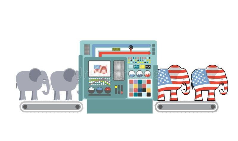 Εργοστάσιο δημοκρατική Αμερική Δημοκρατικός ελέφαντας Δημοκρατικοί υπέρ διανυσματική απεικόνιση