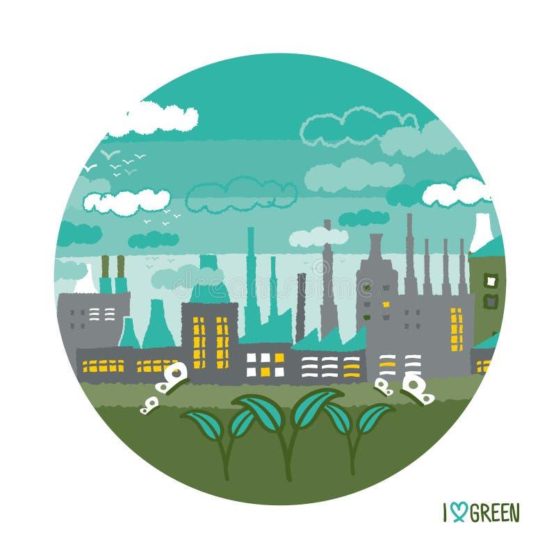 Εργοστάσιο στις πράσινες έννοιες πόλεων ελεύθερη απεικόνιση δικαιώματος