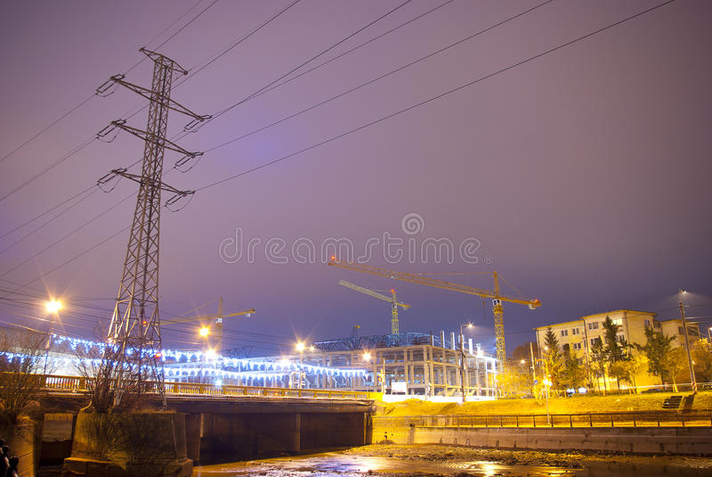 Εργοτάξιο οικοδομής τη νύχτα στοκ εικόνες με δικαίωμα ελεύθερης χρήσης