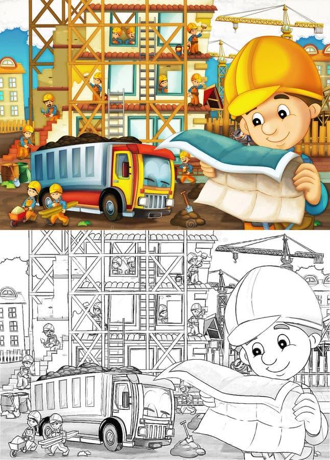 Εργοτάξιο οικοδομής - χρωματίζοντας σελίδα με την πρόβλεψη διανυσματική απεικόνιση