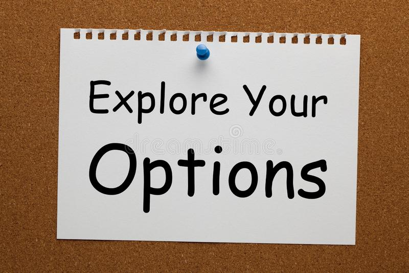 ερευνήστε τις επιλογές σας στοκ εικόνα με δικαίωμα ελεύθερης χρήσης
