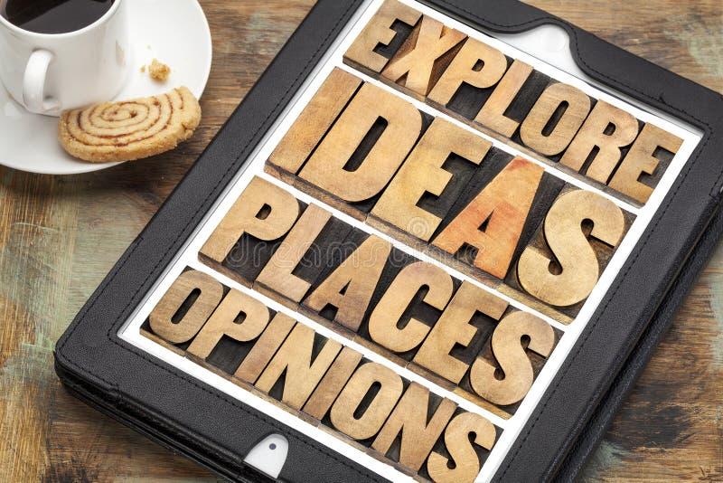 Ερευνήστε τις ιδέες, τις θέσεις και τις απόψεις στοκ φωτογραφία με δικαίωμα ελεύθερης χρήσης