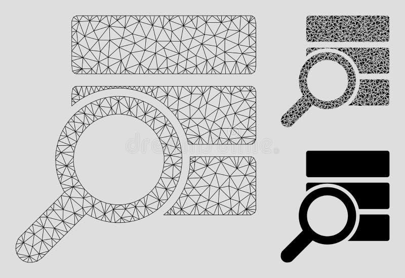 Ερευνήστε το διανυσματικά πρότυπο σφαγίων πλέγματος βάσεων δεδομένων και το εικονίδιο μωσαϊκών τριγώνων διανυσματική απεικόνιση