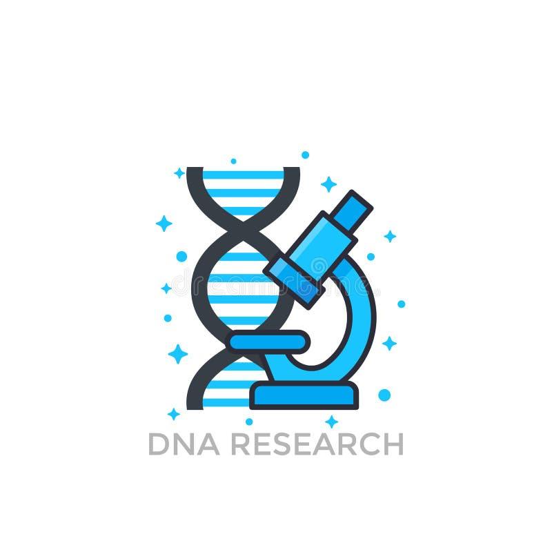 Ερευνητικό εικονίδιο DNA διανυσματική απεικόνιση