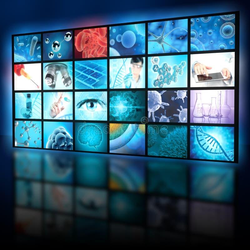 Ερευνητικό κολάζ μικροβιολογίας σε μια ψηφιακή επίδειξη στοκ εικόνες