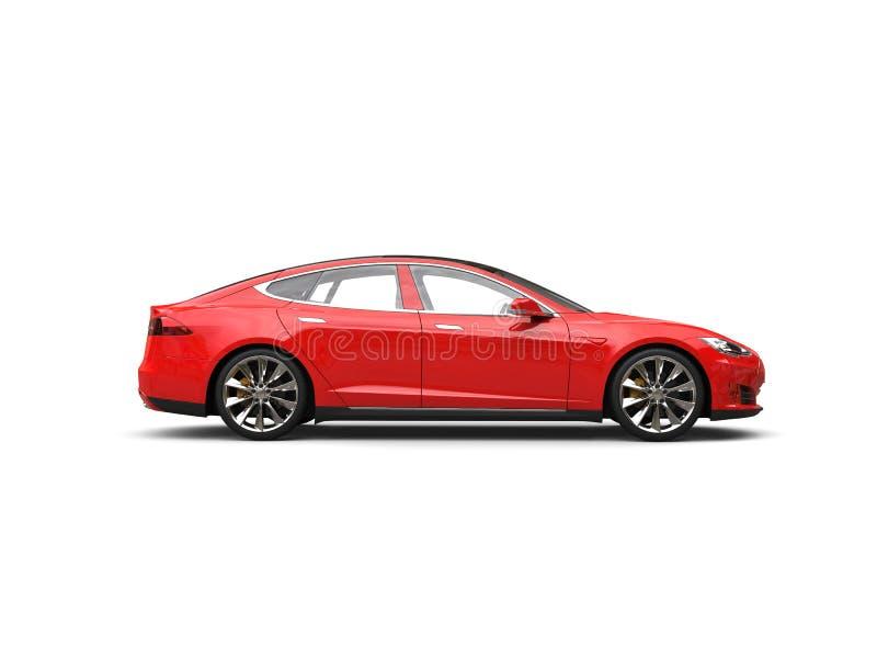 Ερυθρό κόκκινο ηλεκτρικό αθλητικό αυτοκίνητο - πλάγια όψη απεικόνιση αποθεμάτων