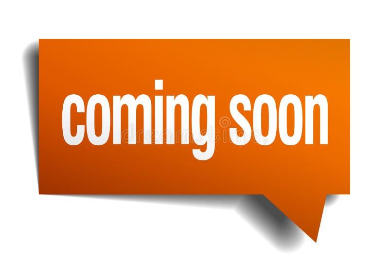 ερχομός σύντομα πορτοκαλιά λεκτική φυσαλίδα ελεύθερη απεικόνιση δικαιώματος