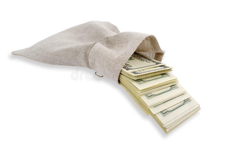ερχόμενα δολάρια τσαντών στοκ φωτογραφία με δικαίωμα ελεύθερης χρήσης