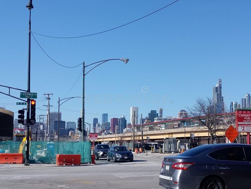 Ερχόμενος από τις ράγες, Σικάγο στοκ φωτογραφίες