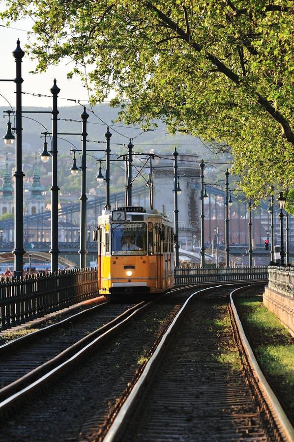 ερχόμενο τραμ στοκ εικόνα