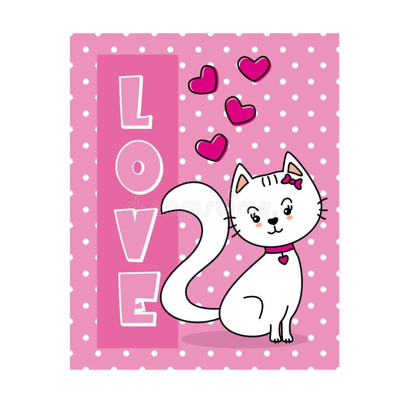 Ερωτευμένη κάρτα βαλεντίνων γατών διανυσματική απεικόνιση