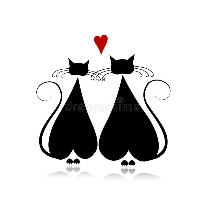 Ερωτευμένη, μαύρη σκιαγραφία γατών για το σχέδιό σας απεικόνιση αποθεμάτων