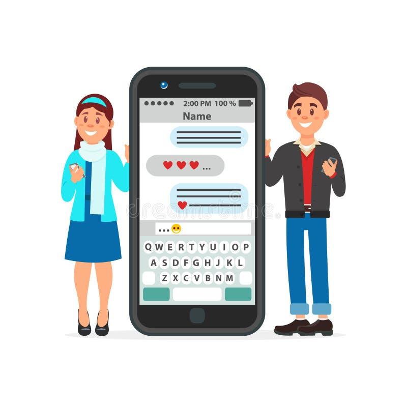 Ερωτευμένη στάση ζεύγους κοντά σε ένα μεγάλο smartphone και communicatitng χρησιμοποίηση χρονολογώντας τον ιστοχώρο ή app διανυσμ απεικόνιση αποθεμάτων