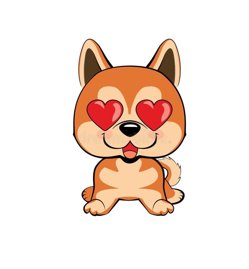 Ερωτευμένος, φιλί, ρομαντικό, σχέση, ευχαριστημένη, από τις συγκινήσεις ματιών καρδιών απεικονίσεις χαρακτήρα σκυλιών στο διάνυσμ διανυσματική απεικόνιση