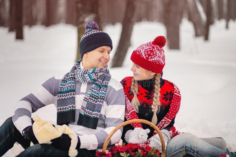 Ερωτευμένο αγκάλιασμα ζεύγους στο χειμερινό πάρκο και κάθισμα στο καρό στοκ εικόνες