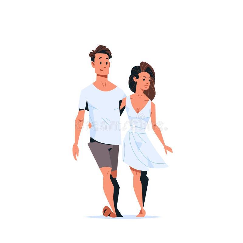 Ερωτευμένο ευτυχές αγκάλιασμα γυναικών νεαρών άνδρων έννοιας ημέρας βαλεντίνων ζεύγους που περπατά μαζί το πλήρες μήκος χαρακτηρώ διανυσματική απεικόνιση