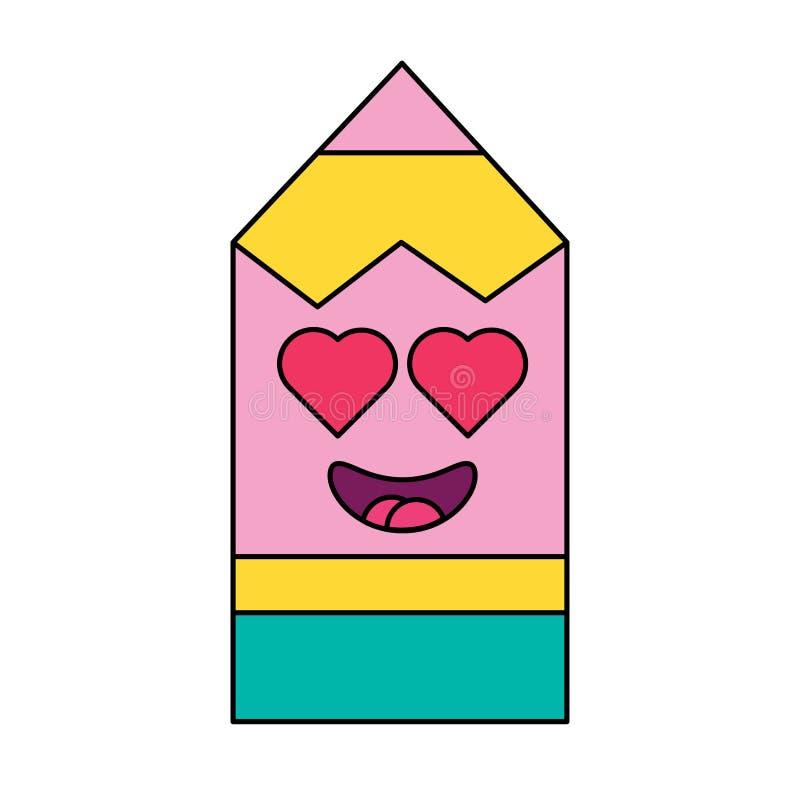 Ερωτευμένο λεπτό γραμμικό εικονίδιο emoticon μολυβιών διανυσματική απεικόνιση