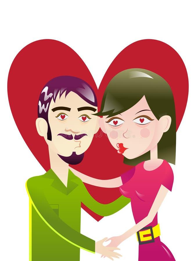 Ερωτευμένο φίλημα ζεύγους κάτω από το illustra μορφής καρδιών διανυσματική απεικόνιση