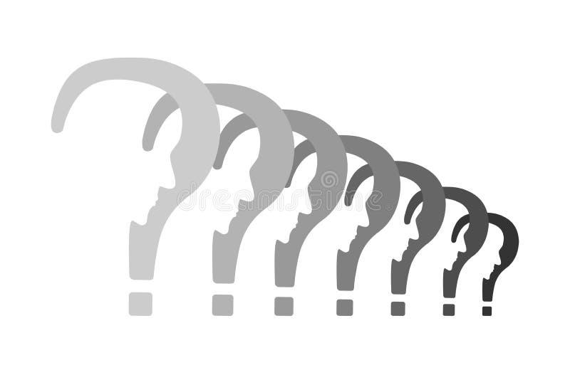 Ερωτηματικά με το σχεδιάγραμμα σε μια έννοια σειρών διανυσματική απεικόνιση