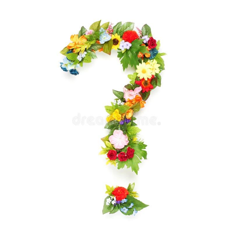 Ερωτηματικό φιαγμένο από φύλλα & λουλούδια στοκ φωτογραφίες με δικαίωμα ελεύθερης χρήσης